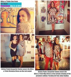 Alice & Trixie live from Art Basel Miami! Artist Paula Gasparini-Santos wears the Veronica & Miya Dress at her exhibits!!
