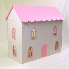 New! Raspberry Road Manor in Pink, handmade wooden dollhouse