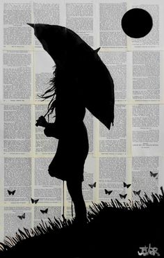 HORIZON ink on vintage book pages by Loui Jover - available to buy at bluethumb. HORIZON ink on v Vintage Drawing, Vintage Art, Journal D'art, Newspaper Art, Newspaper Painting, Silhouette Painting, Silhouette Artist, Art Sketchbook, Drawing People