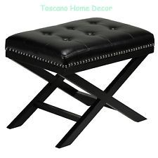 Leather Bench Stool Tufted Modern Black Contemporary Ottoman Accent End Nailhead