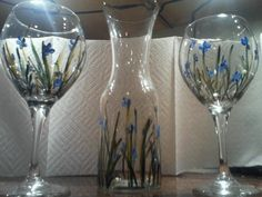 Painted Wine Glasses by NauticalWheelers on Etsy, $40.00