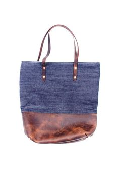 The Mills Tote made from raw indigo selvage denim and leather with chambray striped liner. - MANREADY MERCANTILE