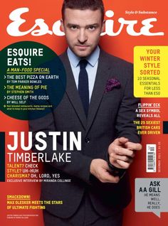 Justin Timberlake wearing Burberry Men's Tailoring on the front cover of Esquire Uk