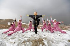 Sima Azimi (C), 20, a trainer at the Shaolin Wushu club, poses with her students after an exercise on a hilltop in Kabul, Afghanistan January 29, 2017. (REUTERS/Mohammad Ismail)  via @AOL_Lifestyle Read more: https://www.aol.com/article/news/2017/02/02/afghan-girls-fight-prejudice-with-martial-arts/21706103/?a_dgi=aolshare_pinterest#fullscreen