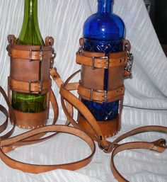 Leather Spirit Bottle Holder ... when you would like more than a pint. Medieval SCA LARP Renaissance Pirate $35.99