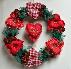 Christmas Heart Wreath Christmas Door Decorations, Christmas Wreaths, Christmas Ornaments, Holiday Decor, Christmas Hearts, Heart Wreath, Christmas Fabric, Door Wreaths, Holidays And Events