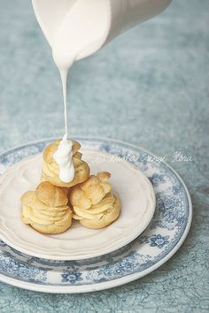 Choux pastry with apricot cream filling and marzipan sauce by csokiparany, via Flickr