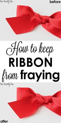 MUST TRY tip!  How to keep ribbon from fraying!  Definitely something to keep around for wrapping gifts and decorating for the holidays!