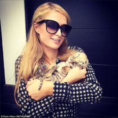 Cuddling up: Paris cradled a three-week-old golden tiger cub during a visit to the Black ...