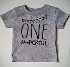 One-Year-Old Grey T Shirt. One-derful. Grey Birthday T shirt. 1st Birthday Girl. 1st Birthday Boy. #1 by innerthreadsdesigns on Etsy https://www.etsy.com/listing/268783507/one-year-old-grey-t-shirt-one-derful