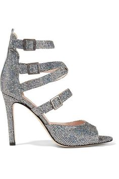 SJP By Sarah Jessica Parker - Fugue Glittered Leather Sandals - Silver - IT
