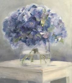Oil painting of purple-blue hydrangeas in a beautiful glass vase by Trish Mitchell