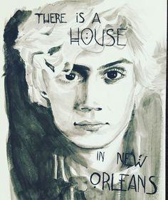 Evan Peters American Horror Story Coven watercolor portrait