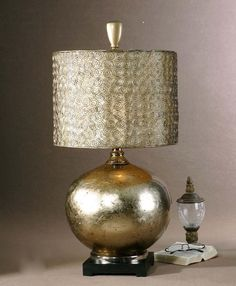 Contemporary Silver Champagne Table Lamp Glass Metal Modern Designer Luxury   eBay