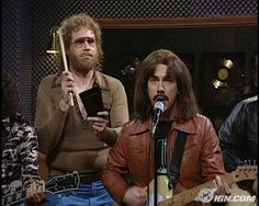 """Gotta have more cowbell! SNL's Will Ferrell and the rest of 'Blue Oyster Cult' performing """"Don't Fear the Reaper"""" for Christopher Walken (aka, Bruce Dickinson, who puts his pants on one leg at a time like everybody else, except when he puts his pants on, he makes gold records...)  Another one where Jimmy Fallon couldn't keep a straight face."""