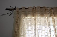 vintage lace curtains + branch
