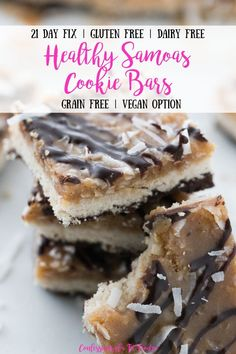 These CopyCat Samoas taste BETTER than the original and they are gluten-free, dairy-free and 21 Day Fix Approved without needing a treat swap! Dairy Free Deserts, Dairy Free Snacks, Dairy Free Breakfasts, Gluten Free Desserts, 21 Day Fix Dairy Free Recipes, Healthy Gluten Free Snacks, Gluten Free 21 Day Fix, Dairy Free Cookies, No Dairy Recipes