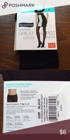 """Opaque shaping tights Black opaque shaping tights form No Nonsense, size L (145-210 lbs, 5'2""""-6'). Brand new. No Nonsense Accessories Hosiery & Socks"""