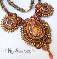 Soutache beaded necklace in red burnt amber and by MiriamShimon - 185.00