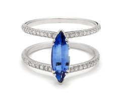 Anna Sheffield one-of-a-kind 1.31ct Marquis-cut blue sapphire in 14ct white gold with 0.30ct white diamonds ($ 9,200; annasheffield.com).