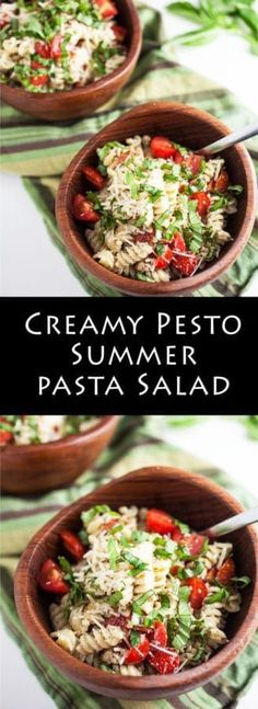Creamy Pesto Summer Pasta Salad | A vibrant summer pasta salad tossed in a creamy pesto dressing and topped with fresh tomatoes, toasted walnuts, Parmesan cheese, and lots of basil.