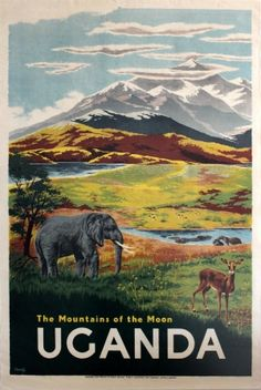 Uganda Mountains of the Moon, 1953 - original vintage poster listed on AntikBar.co.uk