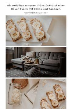 Wir verleihen unserem Frühstück einen Hauch Exotik mit Bananen und Kokos. Freebies, Villa, Blog, Vegan Treats, Homemade, Blogging, Fork, Villas
