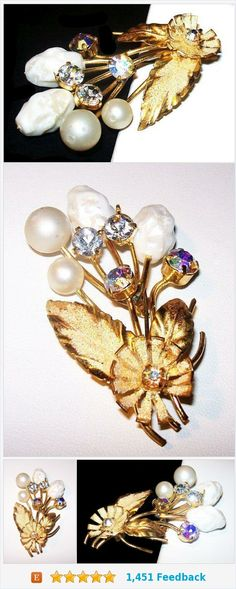 "Baroque Pearl Flower Brooch Signed Austria Clear Rhinestones Gold Metal 2 1/2"" Vintage 1940s https://www.etsy.com/BrightgemsTreasures/listing/572461183/baroque-pearl-flower-brooch-signed?ref=shop_home_active_3"