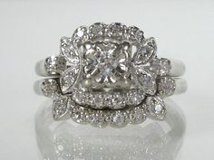 Love, love LOVE vintage wedding rings. Vintage Diamond Wedding Ring Set by lonestarestates on Etsy, $625.00