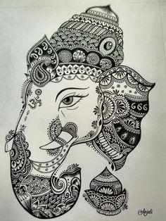 Super Nature Mandalas Drawing Zentangle 18 Ideas You are in the right place about M Ganesha Drawing, Ganesha Painting, Ganesha Art, Lord Ganesha, Mandalas Painting, Mandalas Drawing, Easy Mandala Drawing, Mandala Sketch, Doodling Art
