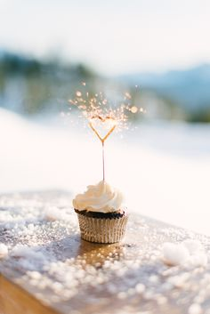 little heart sparkler on a cupcake #valentine