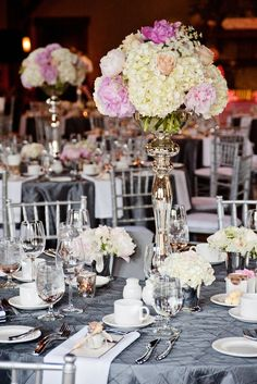 centerpieces. Something like this but pulled in closer and only one small one larger plus candles and the glass Jewell's and sequins?