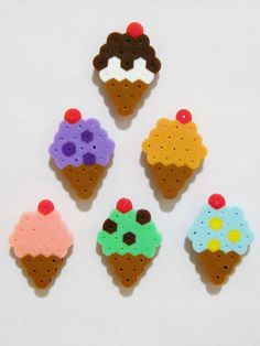 6pc Ice Cream Cones with Cherry Magnet Set Kawaii Perler Beads by RainbowMoonShop on Etsy