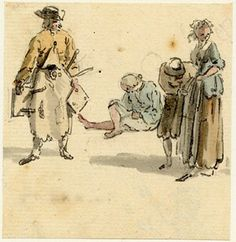 Group of figures, one of the figure sketches made in Edinburgh and the neighbourhood after the rebellion of 1745; a man carrying three-legge...