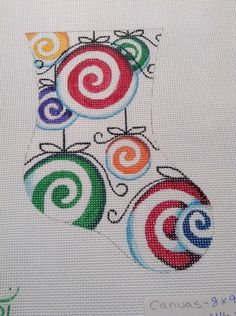 HP Needlepoint canvas Christmas Stocking Green Yellow Purple Spiral Pin Wheel