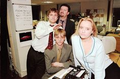 "Tim Canterbury, Gareth Keenan, David Brent and Dawn Tinsley for ""The Office"".  The original Office, not the American knock-off.  tv000747942 by BBC Comedy, via Flickr"