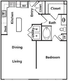 Great micro house floor plan door to the bath, make the w/d a huge pantry. No need for range in any house these days.use a portable induction burner. A small convection oven/microwave is a better idea. The Plan, How To Plan, Small House Plans, House Floor Plans, 1 Bedroom House Plans, Granny Pod, Small Room Design, Micro House, Tiny House Living