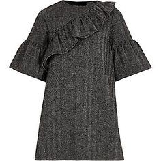 Girls grey lurex frill T-shirt dress