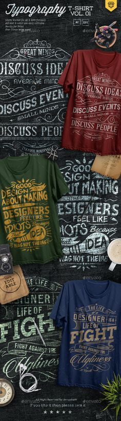 3 #Quotes #Typography T-Shirts - #T-Shirts Download here: https://graphicriver.net/item/3-quotes-typography-tshirts/18329066?ref=alena994