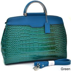 Dasein Croc-embossed Patent Briefcase Style Satchel - Overstock™ Shopping - Great Deals on Dasein Shoulder Bags