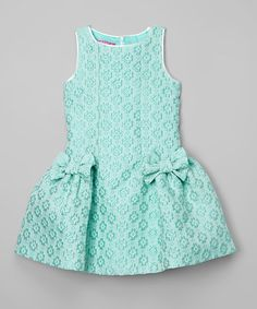 Love this Green Lattice Bow Dress - Girls on #zulily! #zulilyfinds