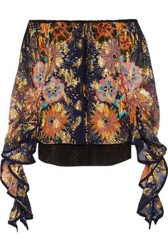 Chloé - Exclusive Off-the-shoulder Floral-print Fil Coupé Silk Blouse - Navy - FR44