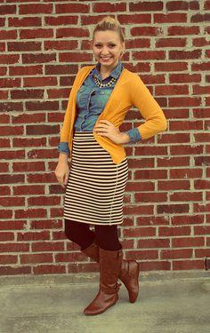 Goodwillista Blog: Mustard cardi, chambray shirt, striped skirt, Brown boots