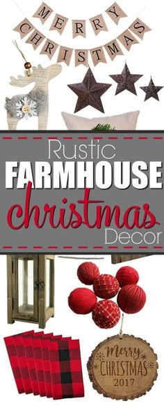 Rustic Farmhouse Christmas Decor Ideas- of course you can DIY your holiday decorations, but if you're not into crafting, you can buy your own rustic farmhouse Christmas decor for cheap! Check out these finds from Amazon that are totally budget friendly. So cute! #rustic #christmas #holiday #decor #ideas #deer #buffaloplaid #burlap