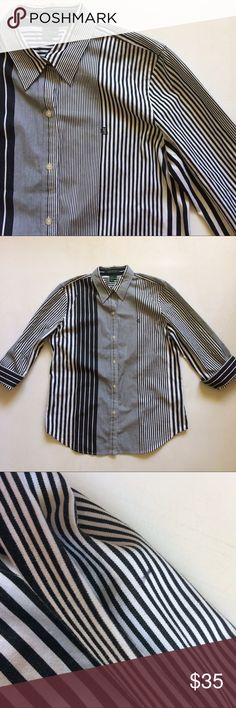 Ralph Lauren black and white striped button down M Size M Ralph Lauren black and white button down in Excellent Used Condition with no holes, rips, stains, does have small pen mark on sleeve. Measurements : 16' Shoulder 20' chest 28' length Lauren Ralph Lauren Tops Button Down Shirts