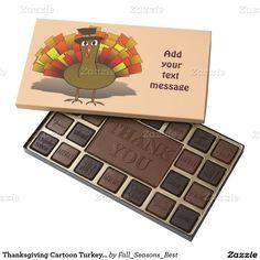 #Thanksgiving Cartoon Turkey #Pilgrim 45 Piece Box Of Chocolates by #Fall_Seasons_Best #Zazzle #Gravityx9 Designs