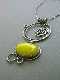 yellow yellow hot neon yellow lazer yellow single pendant necklace metalsmithing contemporary art jewelry modern
