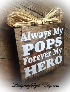 Pops Gift Pops Sign Wood Block  Plaque Father's by DesignsBySyds