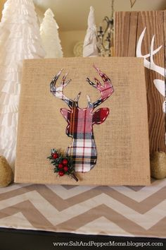 DIY Deer Art: Plaid deer head on a burlap canvas for the holidays. Full tutorial with printable stencils.