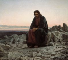 Christ in the Desert, or Christ in the Wilderness is a painting by Russian artist Ivan Kramskoi, reflecting the Fasting of Christ. Kramskoy used primarily cold colors to reflect the chill dawn in the background. The thoughtful figure of Christ, wearing a dark wrap and red tunic underneath is slightly shifted to the right of the center. The painting emphasizes Jesus' human constituent of hypostatic union and features a mind struggle instead of action.